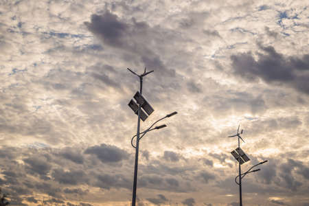 solar panels and wind power farm , new energy background Stock fotó