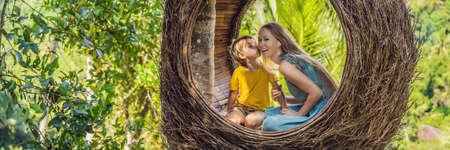 Happy family enjoying their travel around Bali island, Indonesia.