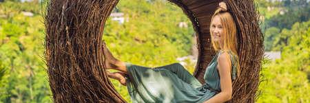 Young tourist enjoying her travel around Bali island, Indonesia.