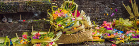 Daily offerings - canang sari is very important in Bali, Indonesia