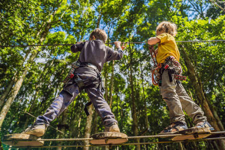 Two little boys in a rope park. Active physical recreation of the child in the fresh air in the park. Training for children