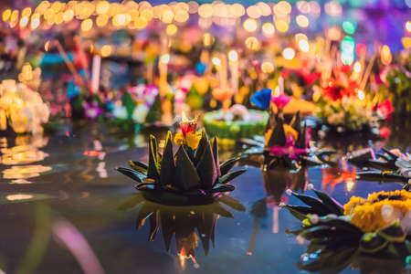 Loy Krathong festival, People buy flowers and candle to light and float on water to celebrate the Loy Krathong festival in Thailand