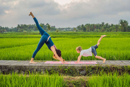Boy and his yoga teacher doing yoga in a rice field