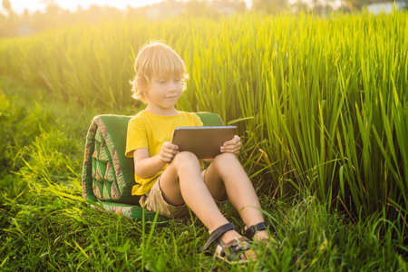 Happy child sitting on the field holding tablet. Boy sitting on the grass on sunny day. Home schooling or playing a tablet