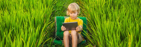 Happy child sitting on the field holding tablet. Boy sitting on the grass on sunny day. Home schooling or playing a tablet BANNER, LONG FORMAT Banco de Imagens