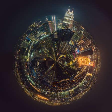 Circular, Stereographic, Polar panorama Kuala lumpur cityscape