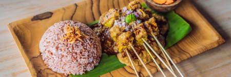 Indonesian lunch set menu, rice, vegetables, tempe BANNER, LONG FORMAT
