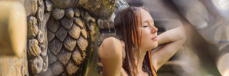 Young woman in hot springs 免版税图像