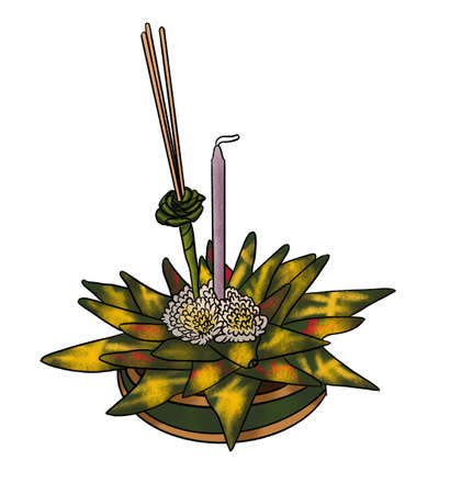 Flower decoration in Loy Krathong festivel isolated on white