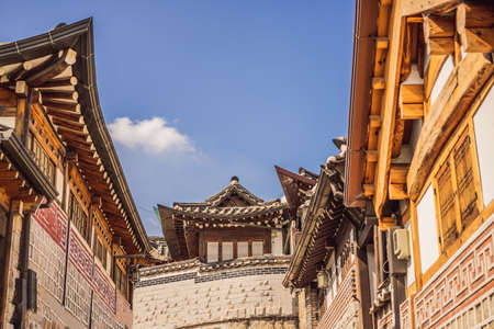 Bukchon Hanok Village is one of the famous place for Korean traditional houses have been preserved Stock fotó