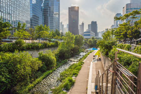 Cheonggyecheon stream in Seoul, Korea. Cheonggyecheon stream is the result of a massive urban renewal project Banco de Imagens