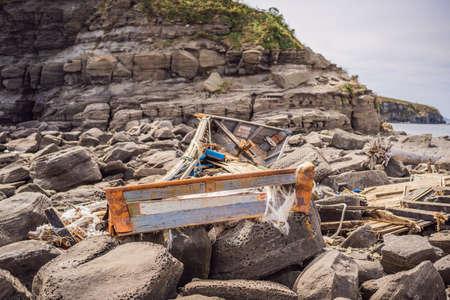 Korean fishing boats washed ashore at Tobizin Cape, Russian Island, Vlaivostok