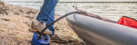 Caucasian Men Preparing For a Kayak Trip on the sea. Summer Recreation. BANNER, LONG FORMAT 스톡 콘텐츠 - 136797386