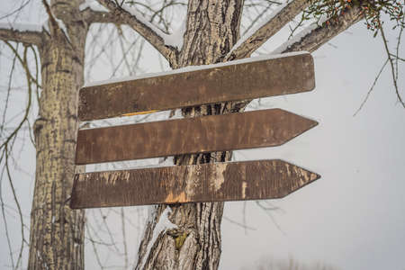 Wooden direction sign with snow on it and with snowfall on background.
