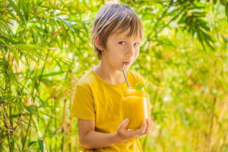 Boy drinking juicy smoothie from mango in glass mason jar. Healthy life concept, copy space
