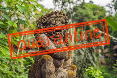 Quarantine due to coronavirus epidemic covid19 Pura Gunung Lebah. Temple in Bali, Indonesia