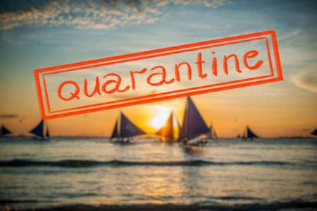 Quarantine due to coronavirus epidemic covid19 Sailboats at sunset, Boracay Island 免版税图像 - 144340826