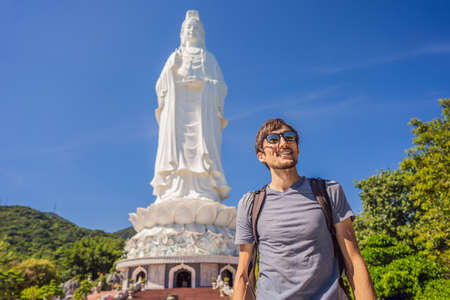 Man tourist in Chua Linh Ung Bai But Temple, Lady Buddha Temple in Da Nang, Vietnam