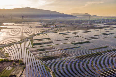 solar energy panels and wind turbine. Drone view Stock fotó