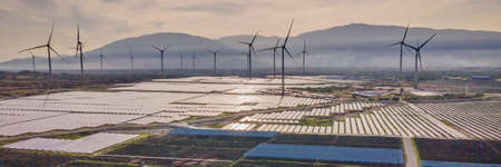 solar energy panels and wind turbine. Drone view BANNER, LONG FORMAT Stock fotó
