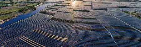 solar energy panels and wind turbine. Drone view BANNER, LONG FORMAT
