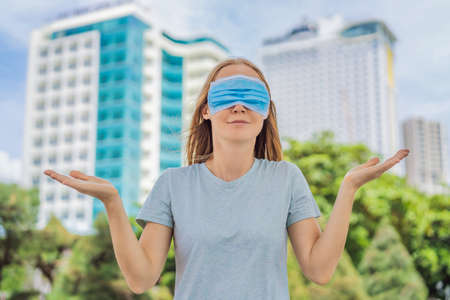 Improper wearing of mask concept. Woman wearing mask wrong