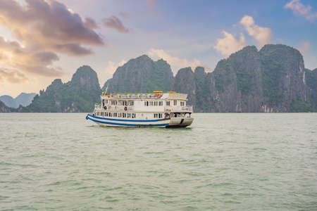 Cruise ships and islands in Halong Bay, Vietnam