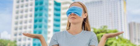 Improper wearing of mask concept. Woman wearing mask wrong BANNER, LONG FORMAT