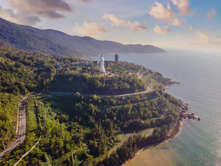 Aerial view, drone Chua Linh Ung Bai But Temple, Lady Buddha Temple in Da Nang, Vietnam Stock fotó