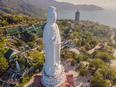 Aerial view, drone Chua Linh Ung Bai But Temple, Lady Buddha Temple in Da Nang, Vietnam