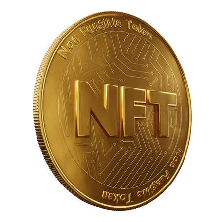Nft - non fungible token concept. 3d render - Coin with inscription NFT