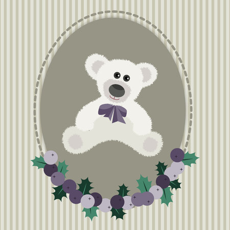 white bear: Vintage greeting card with white bear