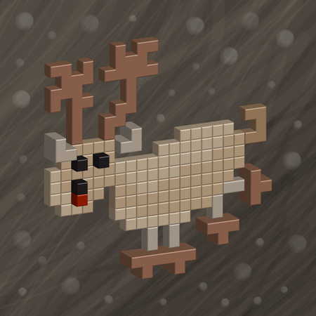 ny: Pixel art. Deer. Christmas deer. NY background. Funny animals for design. Santa Claus cartoon Christmas deer 3d isometric icon.
