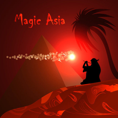 bedouin: Abstract red background for design. Desert, pyramid, bedouin, red night Magic Asia