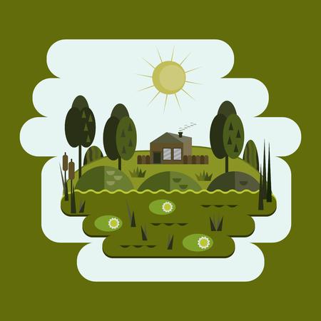 House in the swamp, swamp, flat design Illustration