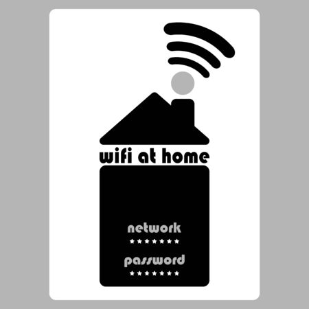 Home Wifi. Wifi password sign. House with wifi icon. line style. symbol. Wireless Network icon. Wifi zone.Gray background.