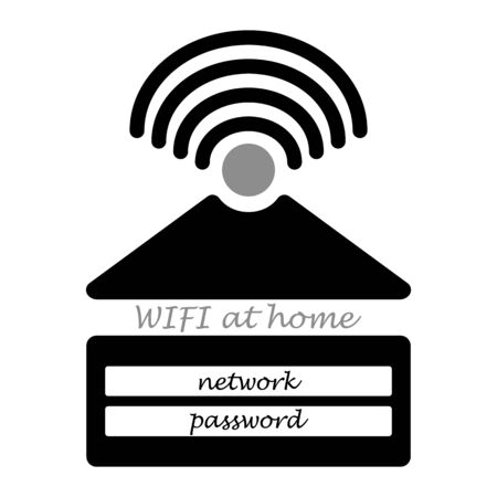 Home Wifi. Wifi password sign. House with wifi icon. line style.   symbol. Wireless Network icon. Wifi zone.Gray background. Illustration