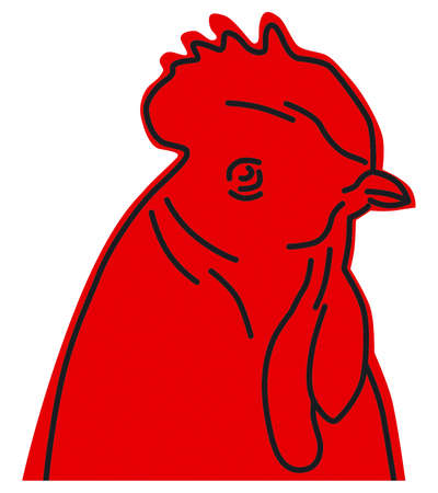 red rooster icon Illustration