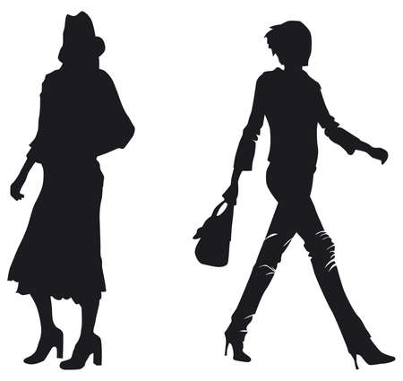 silhouettes of two women