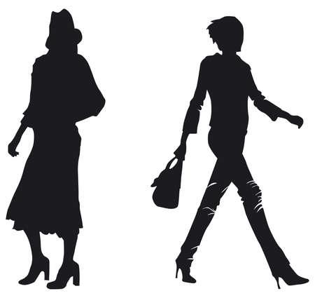 siluetas de dos mujeres Vectores
