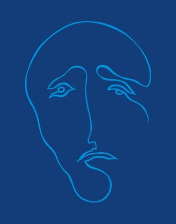 sadness: a sad human face Illustration