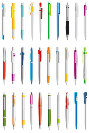 vector pens in different colors