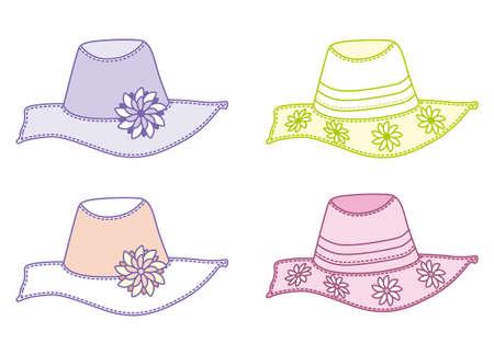 vector illustration of summer hats