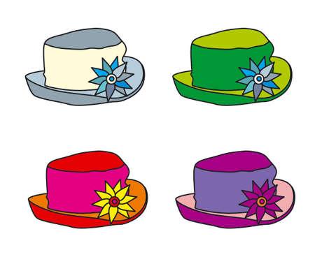 vector illustration of hats