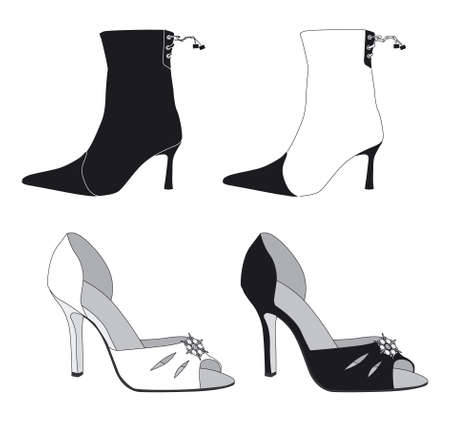 vector illustration of shoes and boots