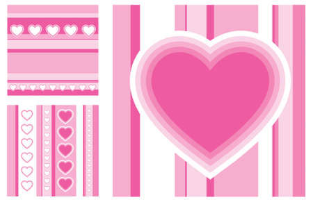 set of vector valentines day greeting cards Illustration