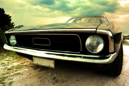 domestic car: vintage car, cross-processed