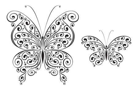 dessin papillon: ensemble de deux vecteurs papillons Illustration