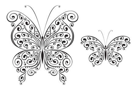 set of two vector butterflies Illustration