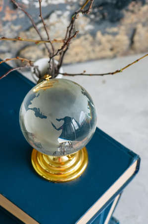 Stack of old books, branches in vase, glass globe, grunge brick background
